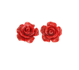 12mm carved rugosa rose flower simulated red coral Earrings j12384