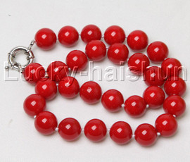 """18"""" 14mm round red south sea shell pearls necklace j12406"""