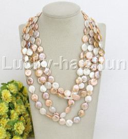 """long natural 84"""" 14mm coin fastener Multicolor freshwater pearl necklace j12463"""