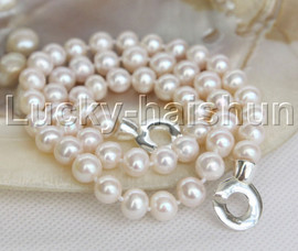 """natural luster 19"""" 9mm near round Stand string beaded pearls necklace j12464"""