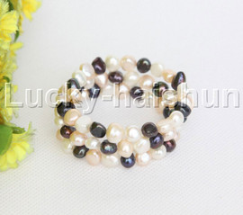 natural stretchy 3row bohemian jewelry Multicolor pearls bracelet j12465
