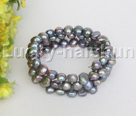 natural stretchy 3row bohemian black pearls bracelet j12468