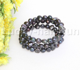 natural stretchy 3row bohemian black freshwater pearls bracelet j12469