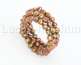 natural stretchy 3row bohemian coffee freshwater pearls bracelet j12470