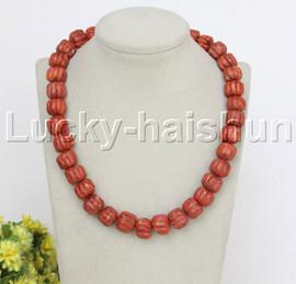 "natural 19"" 15mm string beads wheel pumpkin red sponge coral necklace j12477"