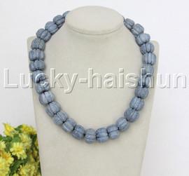 """natural 19"""" 18mm string beads wheel pumpkin blue sponge coral necklace j12478"""