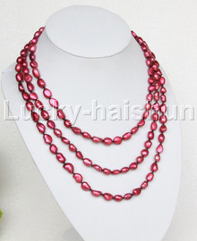 """long 60"""" 11mm Baroque wine red freshwater pearls necklace j12484"""