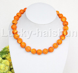 """19"""" 16mm natural round carved yellow coral necklace j12504"""