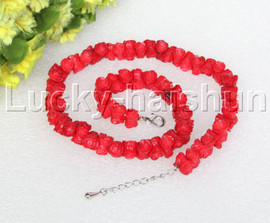 """AAA 16-18"""" 11mm flower carved red coral necklace 18KGP clasp j12505"""