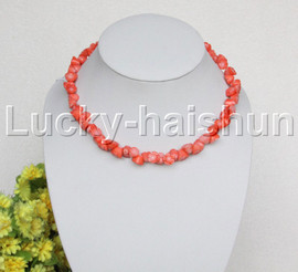 """AAA 17""""-19"""" 10mm flower carved pink coral necklace 18KGP clasp j12507"""