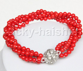 """AAA 8"""" 4row 4mm round red coral bracelet magnet clasp j12509"""