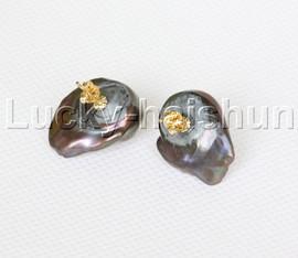Baroque Luster 23mm Black brown Reborn keshi pearls Earrings 14K gold post j12513
