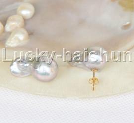 Baroque Luster 23mm Gray Reborn keshi pearls Earrings 14K gold post j12514