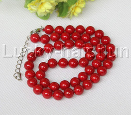 """18-20"""" 8mm red south sea shell pearls necklace 18KGP clasp j12545"""