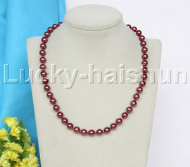 """18-20"""" 8mm wine red south sea shell pearls necklace 18KGP clasp j12547"""