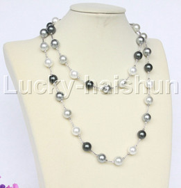 """40"""" 12mm round Multicolor MIX white gray black south sea shell pearl necklace j12577"""