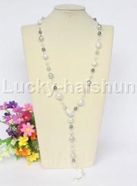 "35"" 12mm Baroque Multicolor white gray black south sea shell pearl necklace j12578"