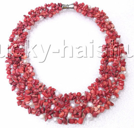 """handmade 16"""" baroque red coral white pearls choker necklace magnet clasp j12591"""