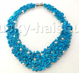 """handmade 16"""" baroque Blue turquoise white pearls choker necklace magnet clasp j12593"""