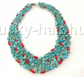 """handmade 16"""" baroque Blue turquoise red coral choker necklace magnet clasp j12594"""