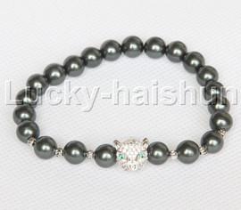 "springy 7"" 8mm Tahitian Black south sea shell pearls bracelet leopard j12596"