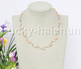 "16"" 9mm Baroque pink white freshwater pearls necklace 18KGP j12599"