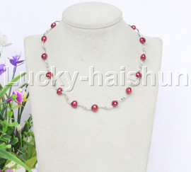"""16"""" 9mm Baroque wine red freshwater pearls necklace 18KGP j12603"""