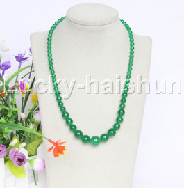 "natural 19"" 6-14mm Graduated round green jade necklace 18KGP j12606"