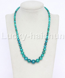 """natural 19"""" 6-14mm Graduated round green chrysocolla necklace 18KGP j12607"""