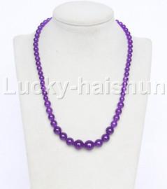"19"" 6-14mm Graduated round purple jade necklace 18KGP j12610"