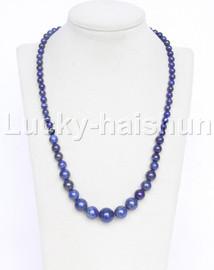 """19"""" 6-14mm Graduated round bule lapis lazuli necklace 18KGP j12612"""