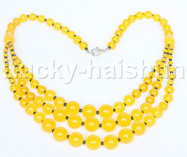 """20"""" 6mm 4-12mm 3row Graduated round yellow jade necklace 18KGP j12616"""