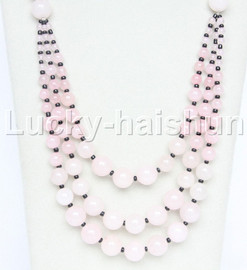 """20"""" 6mm 4-12mm 3row Graduated round pink jade necklace 18KGP j12617"""