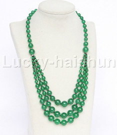 """20"""" 6mm 4-12mm 3row Graduated round green jade necklace 18KGP j12619"""