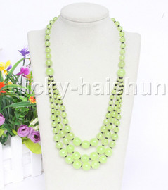 """20"""" 6mm 4-12mm 3row Graduated round green grape jade necklace 18KGP j12622"""