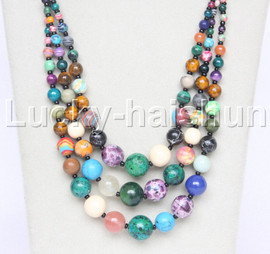 """20"""" 6mm 4-12mm 3row Graduated round Multicolor jade stone necklace 18KGP j12623"""