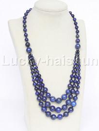 """20"""" 6mm 4-12mm 3row Graduated round bule lapis lazuli necklace 18KGP j12625"""