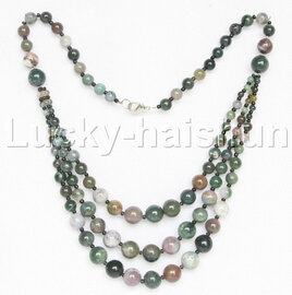 "20"" 6mm 4-12mm 3row Graduated round Multicolor jade necklace 18KGP j12626"