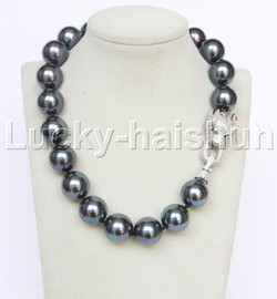 """AAA 19"""" 20mm peacock black south sea shell pearls necklace leopard clasp j12633"""