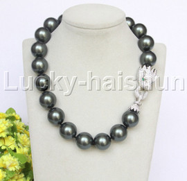 """AAA 19"""" 20mm Tahitian south sea shell pearls necklace leopard clasp j12634"""