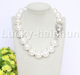 """AAA 19"""" 20mm white south sea shell pearls necklace leopard clasp j12635"""