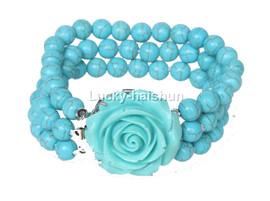 "8"" 3row 8mm round turquoise bead Bracelet flower clasp j12638"