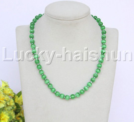"""natural 17"""" 8mm green round Opal cat eyes beads necklace j12641"""