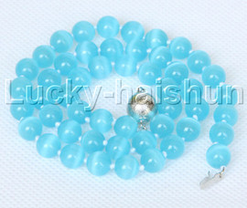 """natural 17"""" 8mm sky-blue round Opal cat eyes beads necklace j12643"""