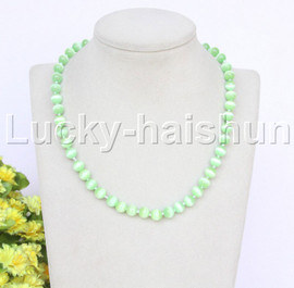 """natural 17"""" 8mm light green round Opal cat eyes beads necklace j12644"""