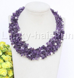 """handmade 14"""" baroque amethyst white pearls choker necklace magnet clasp j12652"""
