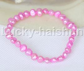 stretchy 8mm Baroque pink-red freshwater pearls bracelet j12653