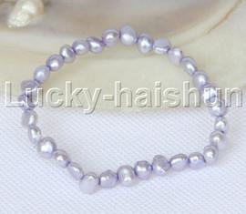 stretchy 8mm Baroque lavender freshwater pearls bracelet j12657