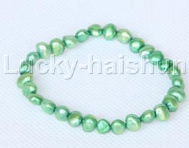 stretchy 8mm Baroque green freshwater pearls bracelet j12658