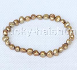 stretchy 8mm Baroque coffee freshwater pearls bracelet j12659